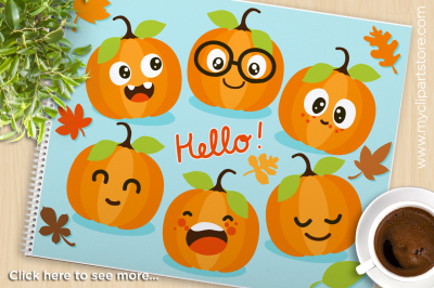 Cute Pumpkins / Fall / Autumn Vector Clipart