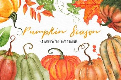 Watercolor Pumpkin Clipart Set