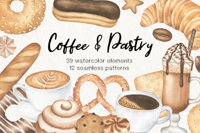Coffee and Bakery watercolor clipart and patterns, Pastry graphics