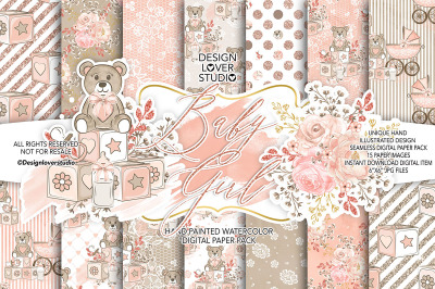 Baby Girl digital paper 2