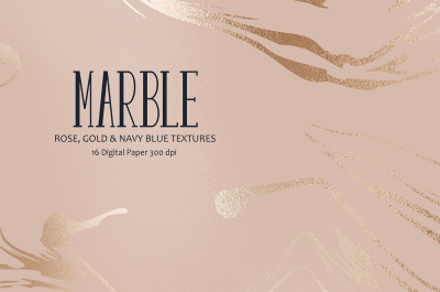 Rose Gold Marble & Navy Blue Textures