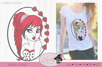 Vintage Girl, Strawberry girl svg, pin up svg, Cartoon fruit, vixen Ch