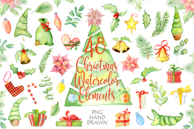 Christmas watercolor elements and decorations