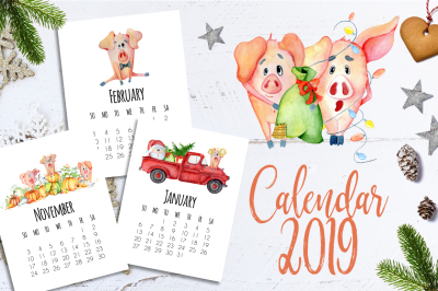 Calendar template  for 2019 Year with cute cartoons pigs
