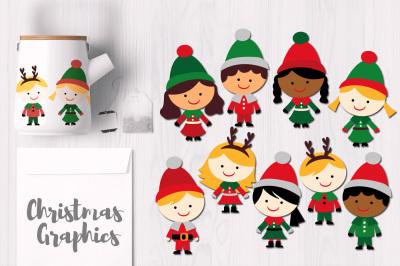 Cute Christmas Kids, Boys and Girls