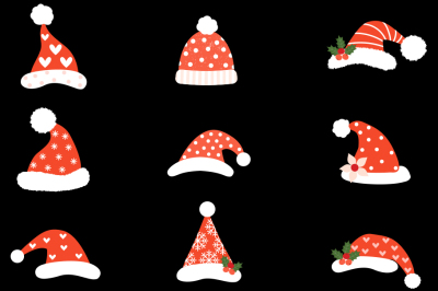 Hipster Santa hats clipart, Cute Santa Claus hat clip art Christmas