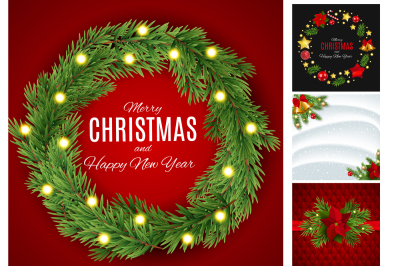 4 Merry Christmas and New Year Background Vector illustration and Rast