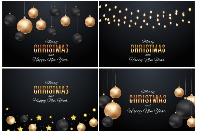 4 Merry Christmas and New Year Background Vector illustration