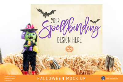 Halloween mock up, witch styled stock, 2 options Hi-res JPEG