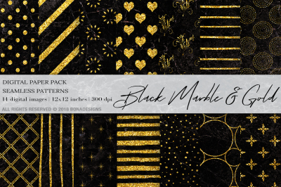Black Marble Gold Digital Paper
