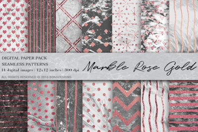 Marble Rose Gold Digital Paper