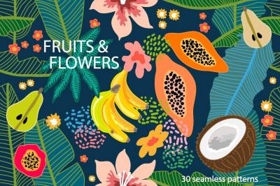 Fruits and Frowers Patterns' Set