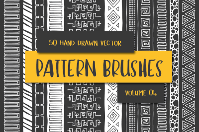 50 Hand Drawn Vector Pattern Brushes Vol. 04