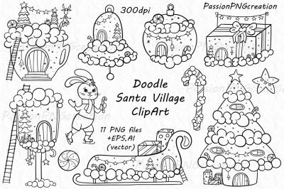 Doodle Santa Village Clipart