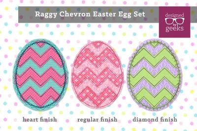 Chevron Easter Egg Set | Raggy Applique Embroidery