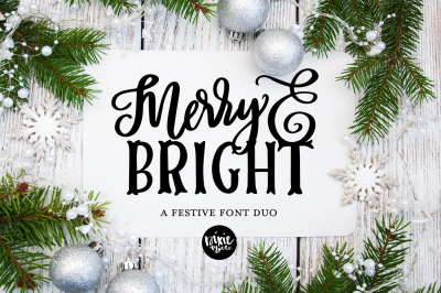 Merry & Bright Christmas Font Duo