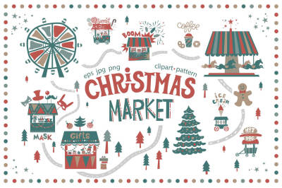 Christmas market. Graphic set