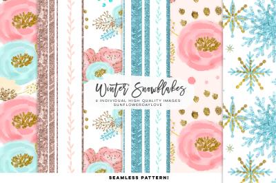Winter Snowflakes Digital Paper, Snowflake Seamless Digital Pattern