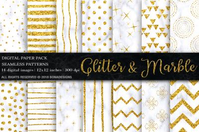 Gold Glitter Marble Digital Paper