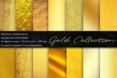 Gold Digital Paper, Gold Backgrounds