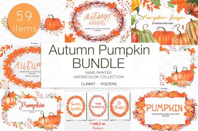 Watercolor Autumn Pumpkin Clipart