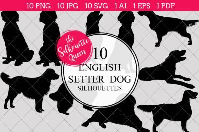 English Setter Dog  Silhouette Vectors