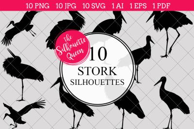 Stork  Silhouette Vector