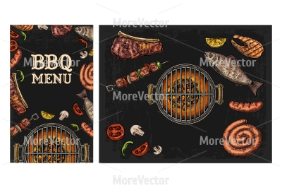 Barbecue grill top view with charcoal, mushroom, tomato, pepper, sausage, lemon, kebab, fish and beef steak.