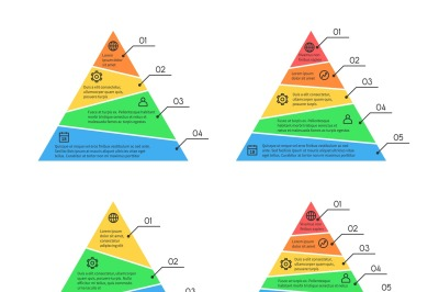 Pyramid, layers chart infographic vector elements with different numbe