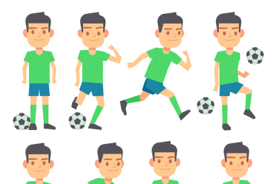Soccer, football players playing ball set of vector flat characters