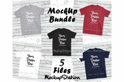Tshirt Mockup Bundle 5 Colors Wood Background Shirt Flat Lay