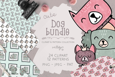Dog clip art and pattern collection