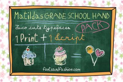 Matildas Grade School Hand_Pack  ( 2 Fonts)