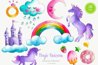Watercolor Unicorn Clipart Nursery Decor