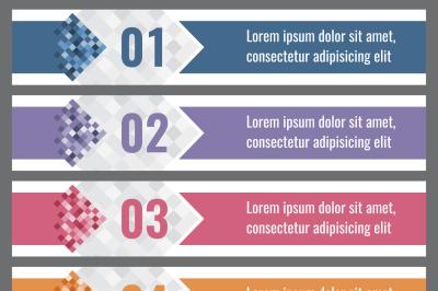 Pixel gradient banners with options. vector infographics elements