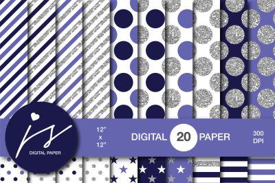 Purple and dark navy blue silver glitter digital paper, MI-943