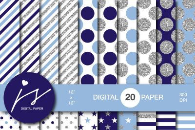 Royal blue silver glitter digital paper, MI-944