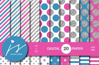 Glitter silver digital paper, MI-945