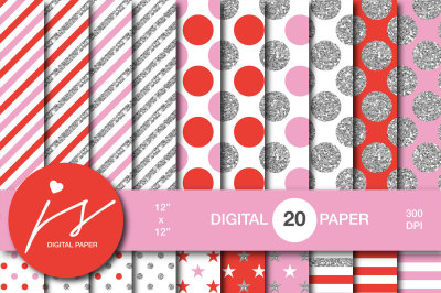 Red and pink silver glitter digital paper, MI-946