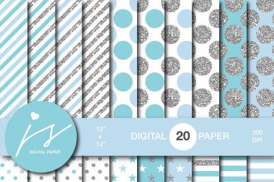 Glitter silver digital paper, MI-947