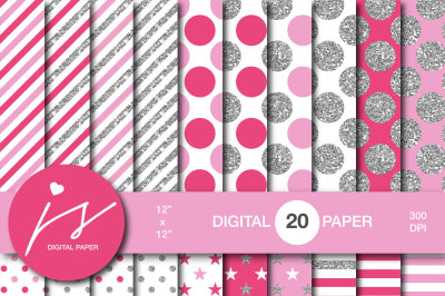 Hot pink silver glitter digital paper, MI-948