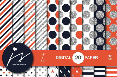 Orange and dark navy blue silver glitter digital paper, MI-949