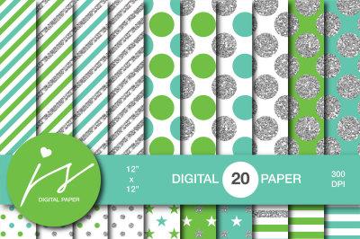 Green silver glitter digital paper, MI-950