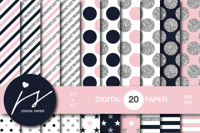 Pink and dark navy blue silver glitter digital paper, MI-951