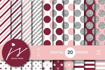 Glitter silver digital paper, MI-952