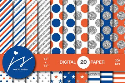 Glitter silver digital paper, MI-953