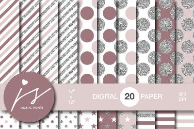 Glitter silver digital paper, MI-954