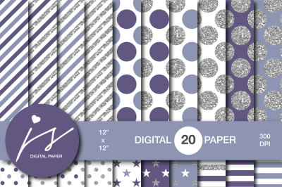 Glitter silver digital paper, MI-955