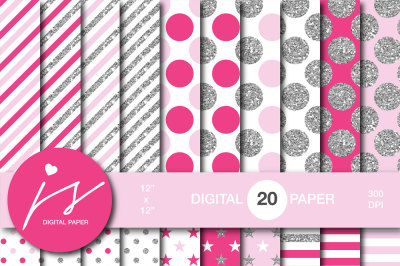 Glitter silver digital paper, MI-956