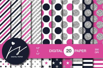 Glitter silver digital paper, MI-957